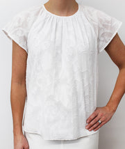 Draper James - Embroidered Gathered Popover Top