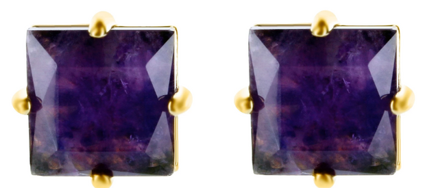 Maria Dolores - Square post earrings - Amethyst