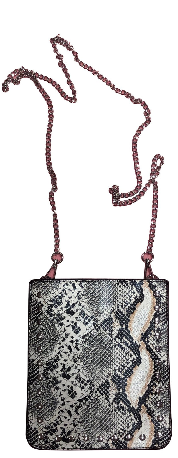 Ahdorned - Studded Vegan Python Cross Body Phone Case Holder w/Chain