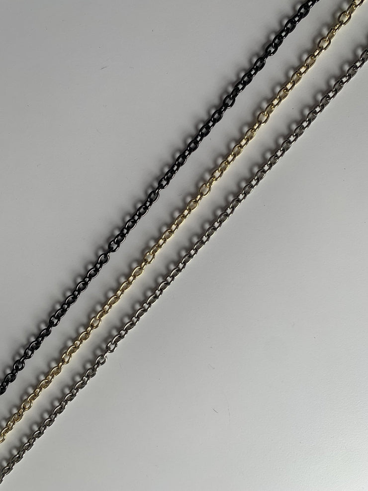 "Ahdorned - 48"" Long Thin Chain Strap - Silver or Gold"