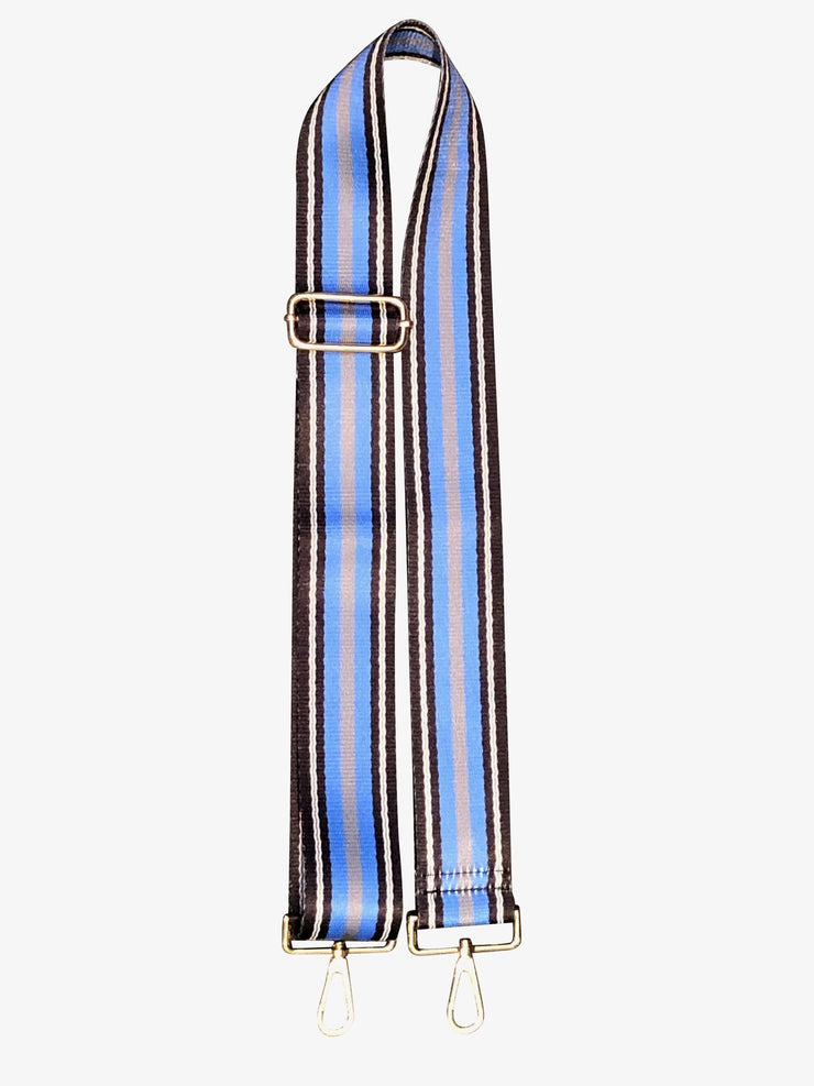 Ahdorned - Adjustable Bag Strap - Black/Blue/Gray Stripe