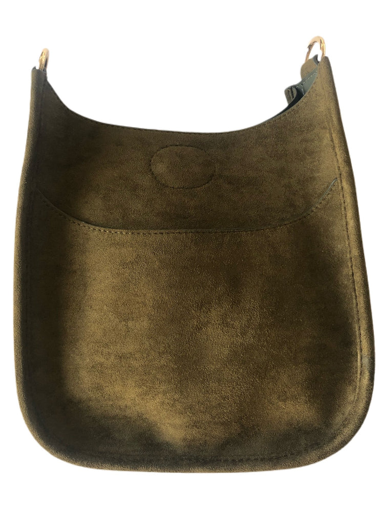 Adhorned - Mini Faux Suede Messenger - No Strap Olive