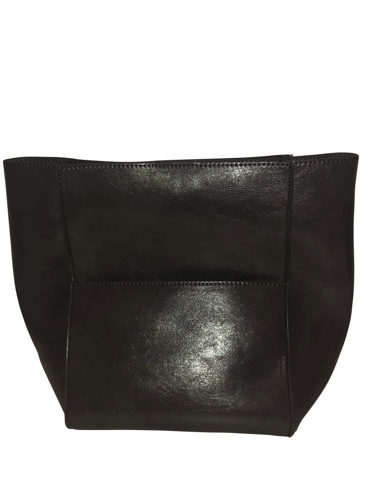 Ahdorned - Med Size Faux Leather Multi Pkt Bag - NO STRAP BLACK