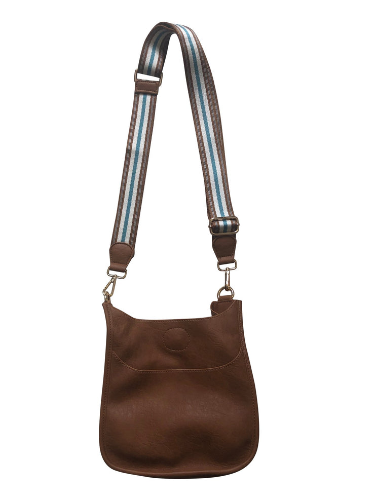 "Ahdorned - MINI VEGAN MESSENGER W/1.5"" PRINTED ADJUSTABLE WEB STRAP Brown"