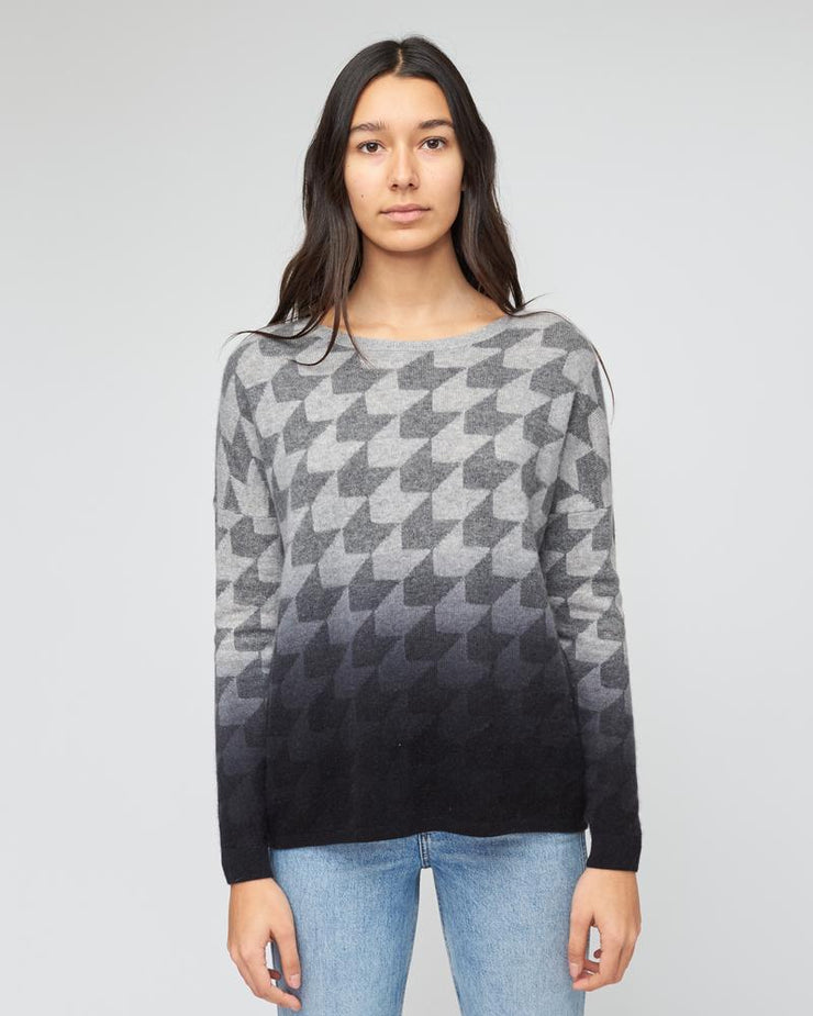 Kokun - Dip Dye Houndstooth Cashmere Sweater