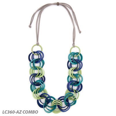 Tagua - Trinity Necklace Long Azul/Turq