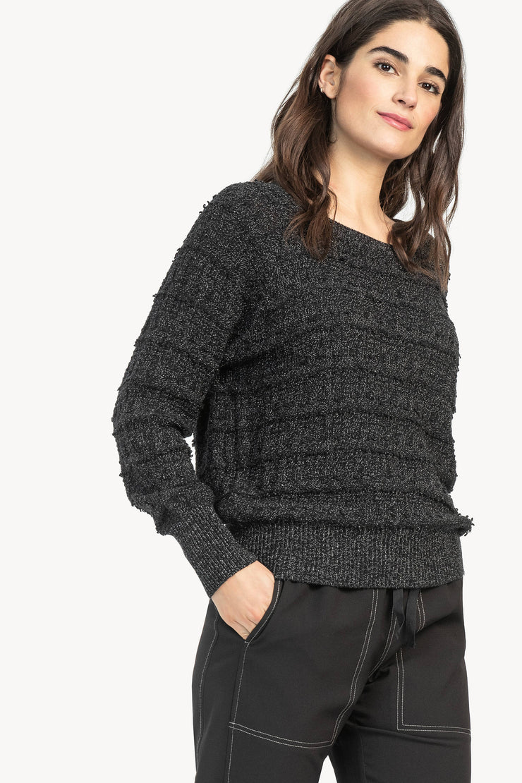 Lilla P -Flecked Cotton Easy Raglan Sweater - Black/Ivory