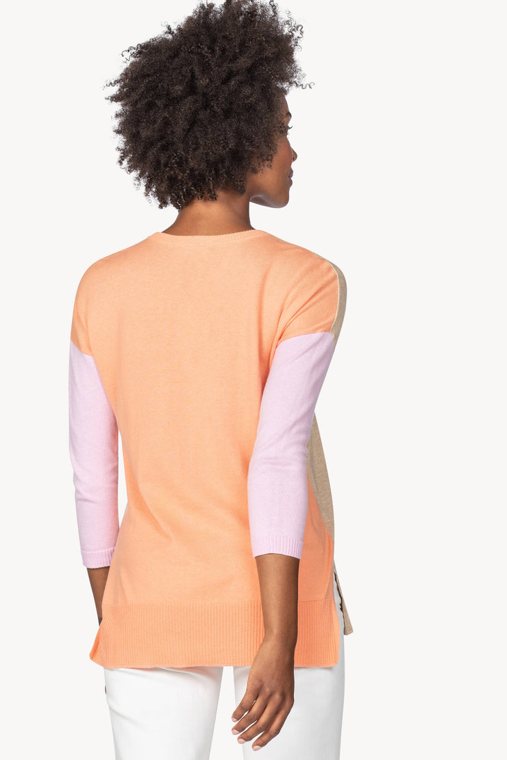 Lilla P - Colorblock V-Neck Sweater : Flax/Pnk/Sherbert
