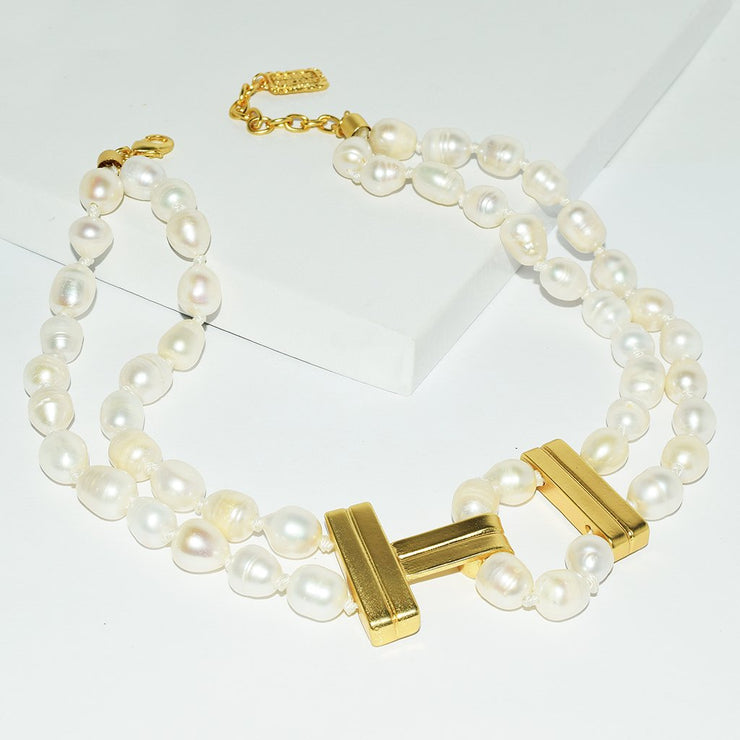 "Karine Sultan - JOSIE NATURAL BEAD ""T"" COLLAR NECKLACE -Pearl"