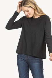 Lilla P - Long Sleeve Pleat Back Tee - Black