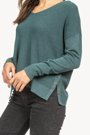 Lilla P - Side Snap V-Neck Sweater - Lagoon