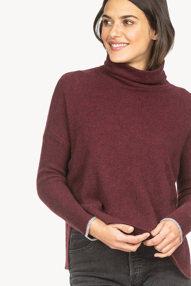 Lilla P - Ribbed Sleeve Turtleneck Sweater - Oxblood