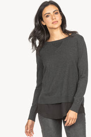 Lilla P - Shirttail Hem Pullover Blouse - Charcoal
