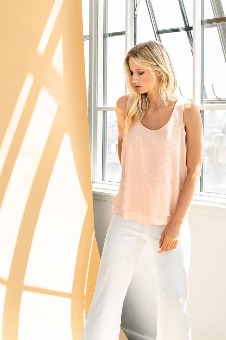 Lilla P - Double Layer Cotton Gauze Tank - Blush