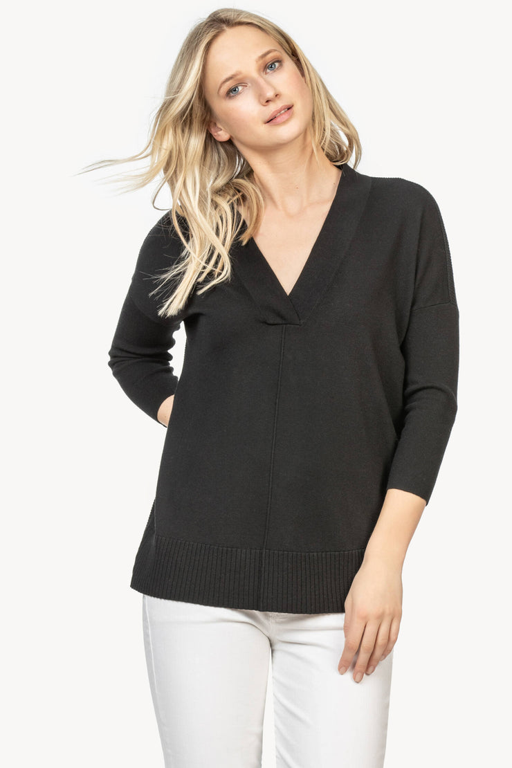 Lilla P - 3/4 Slv Cttn/Modal Tunic Sweater Black