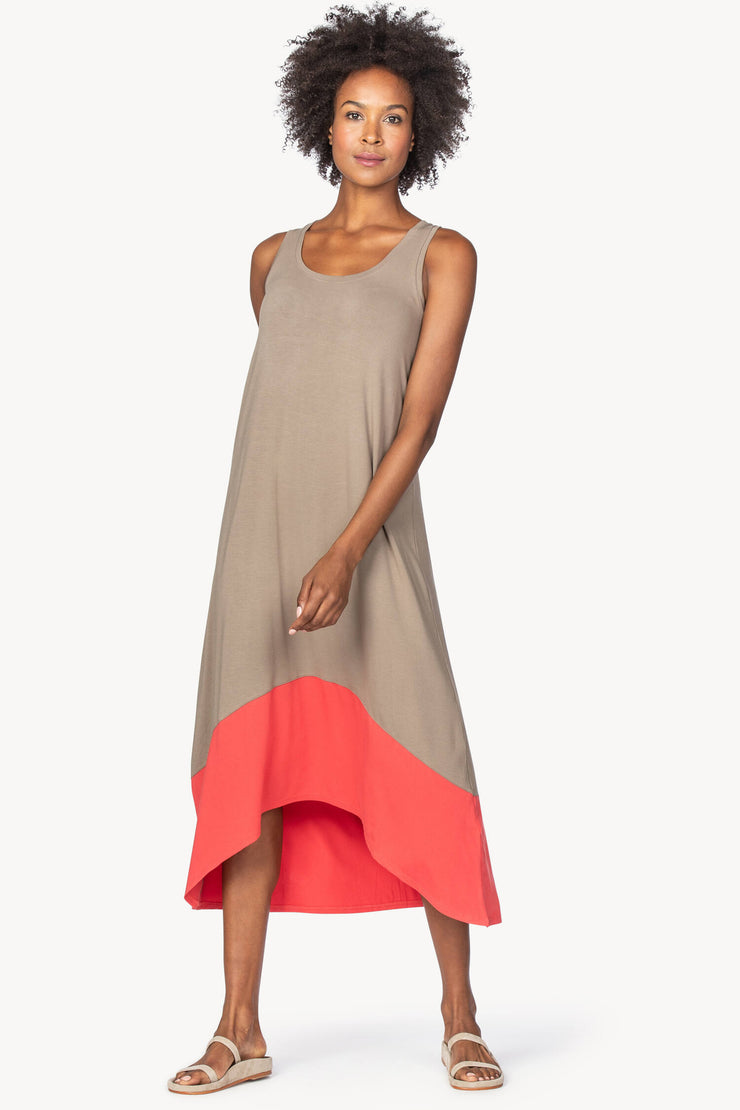 Lilla P - Colorblock Tank Maxi Dress: Tan/Poppy