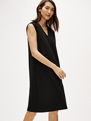 Eileen Fisher - VNeck K/L Tencel/Ponte Dress Black