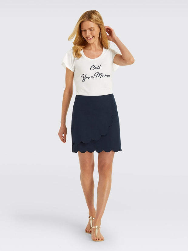 Draper James - Scallop Faux Wrap Skirt