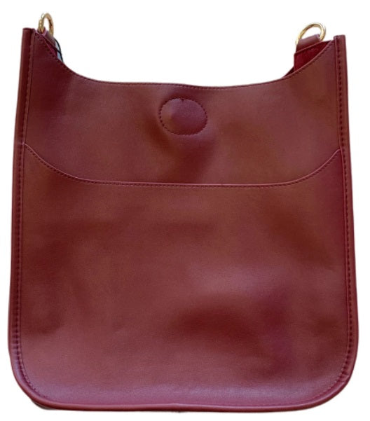 Ahdorned - Faux Leather Classic Size Messenger (NO STRAP) - Burgundy