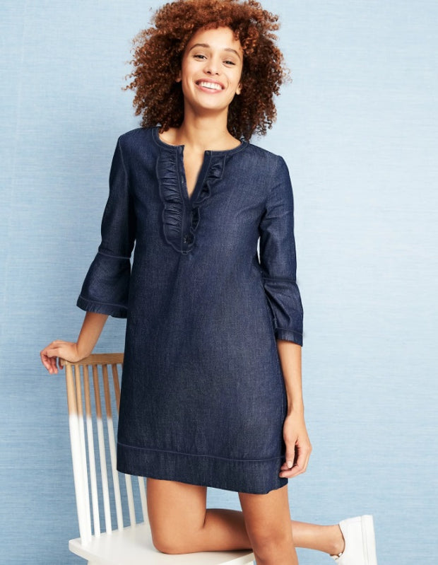 Draper James - Chambray Ruffle Shift Dress