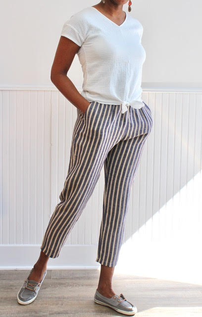 Sita Murt Stripe Linen Pull On Pant