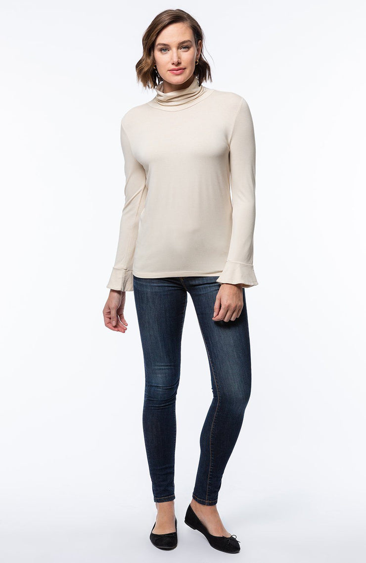 Tyler Boe - Jersey Turtleneck w/Slightly Bell Sleeves - Pearl