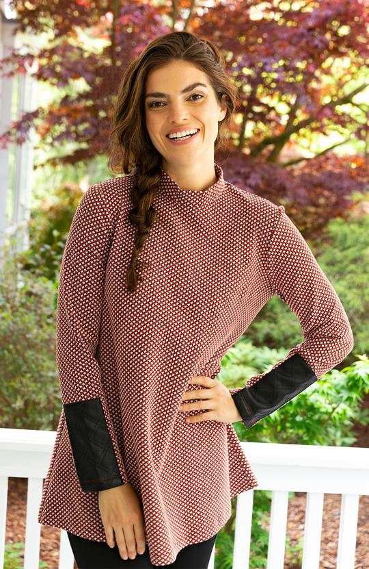 Tyler Boe - Crissy Jacquard Tunic - Baby Crosshatch Red
