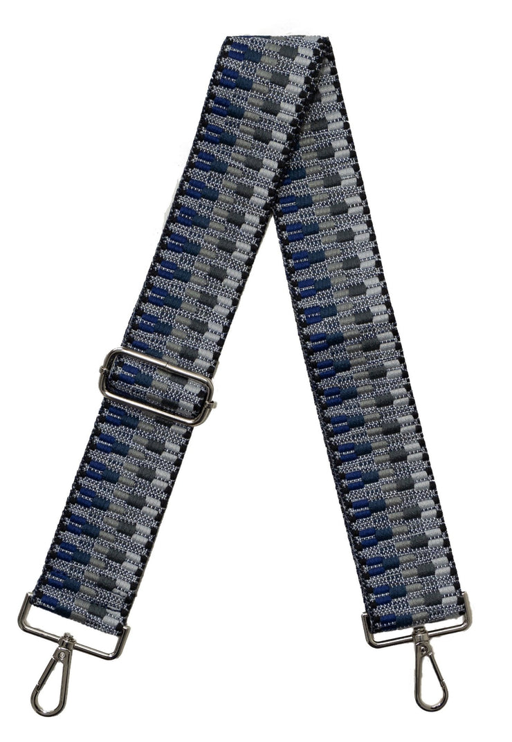 "Ahdorned - 2"" Adjustable Emb Bag Strap - Blu/Gry"