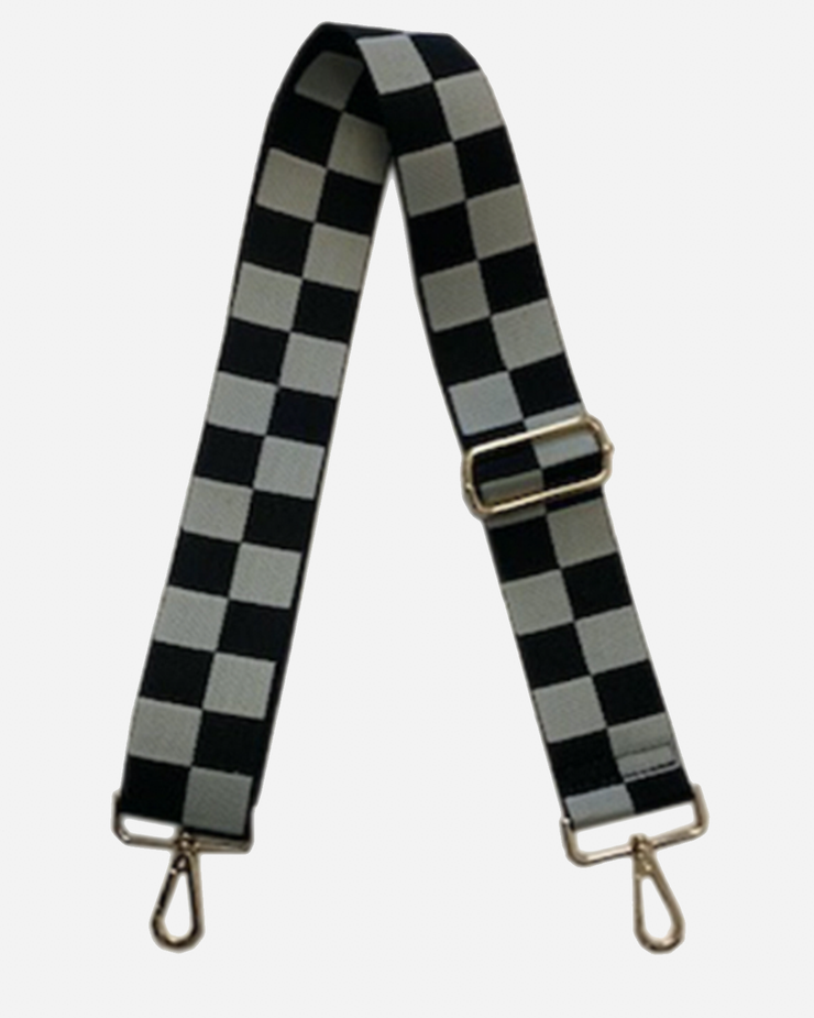 Ahdorned - Blk/Cream Checkered Pattern Adjustable Bag Strap