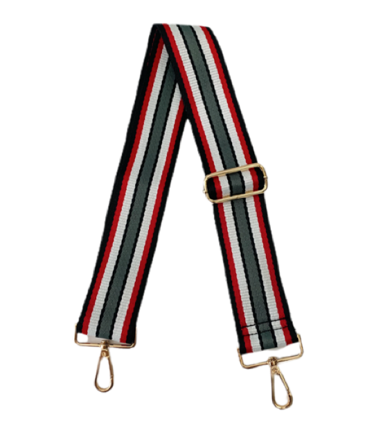 Ahdorned - Adjustable Bag Strap - Blk/Grey/Wht/Red Stripe
