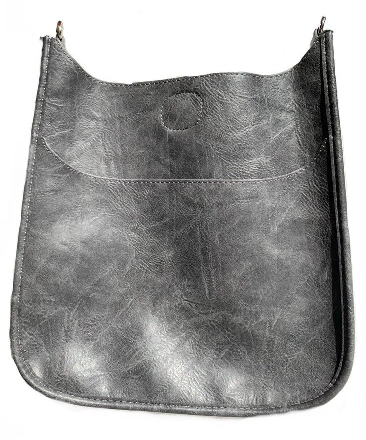 Ahdorned-Vegan Leather Classic Size Bag (No Strap) - Grey w/Silver Hrdwr