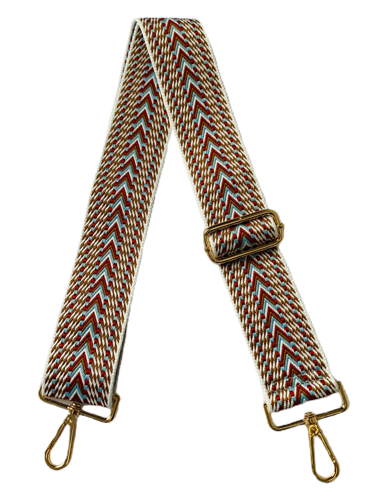 "Ahdorned - 2"" Adjustable Emb Woven Bag Strap - Wht/Camel/Lt Blue"