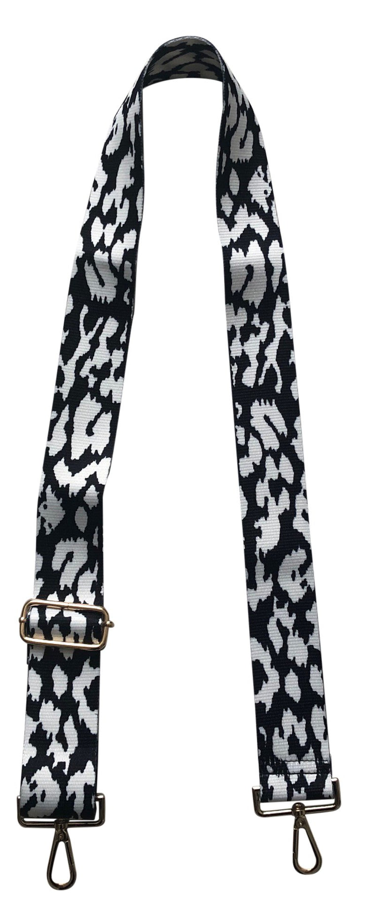 Ahdorned - Adjustable Bag Strap - Black/White Leopard