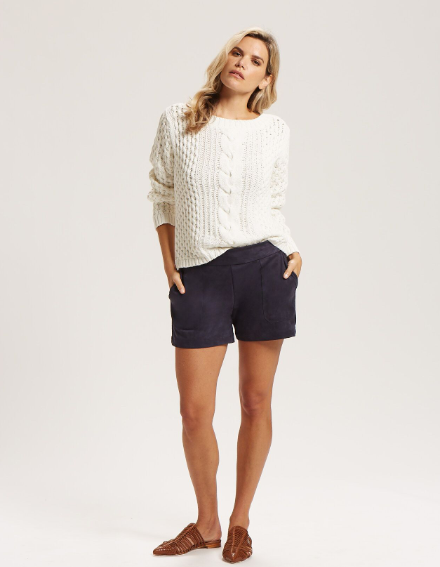 Marie Oliver - L/S Cotton Cable Crew White