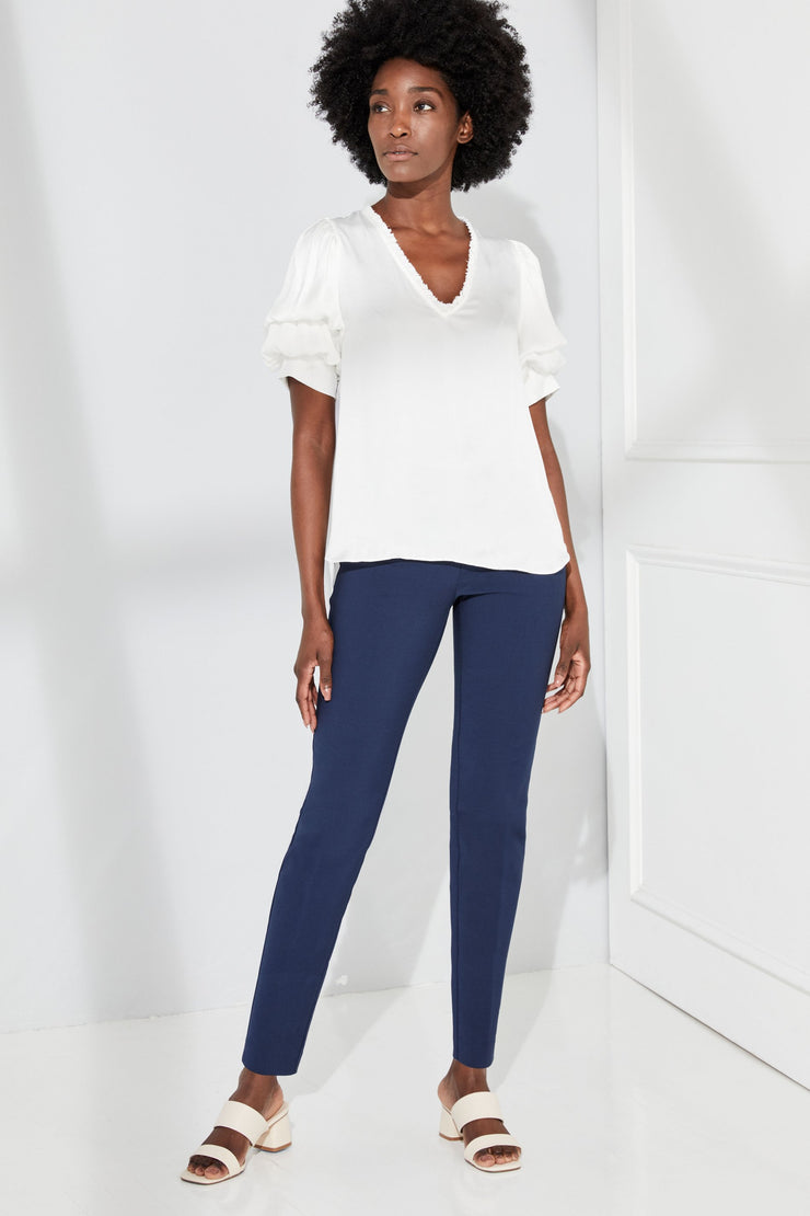 Ecru - Springfield Tribeca Stretch Pull On Pant: Navy