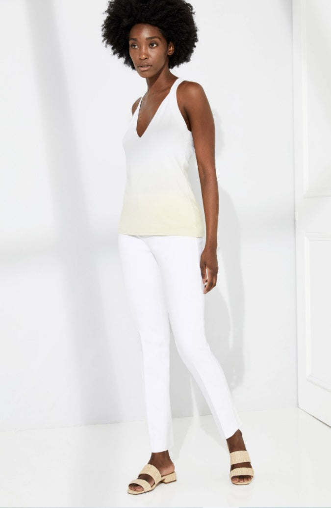 Ecru - Springfield Tribeca Stretch Pull On Pant: White