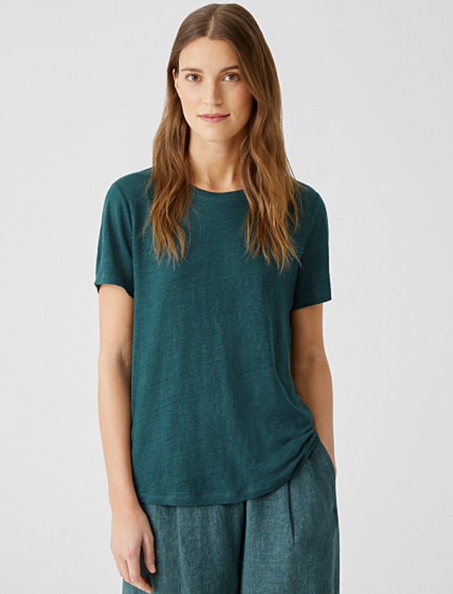Eileen Fisher: Linen Jersey Easy Fit S/S Tee - Aegean