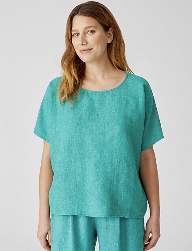 Eileen Fisher - Washed Linen Delave S/S Top: Deep Aqua