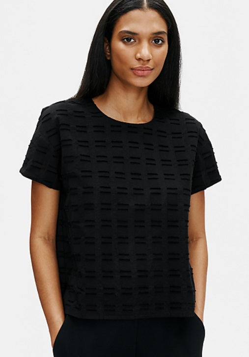 Eileen Fisher - Cttn Shadow Sq S/S Top - Black