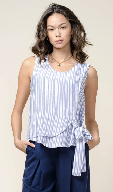 Greylin - Chelsea Yarn Dyed Top: Blue/Wht