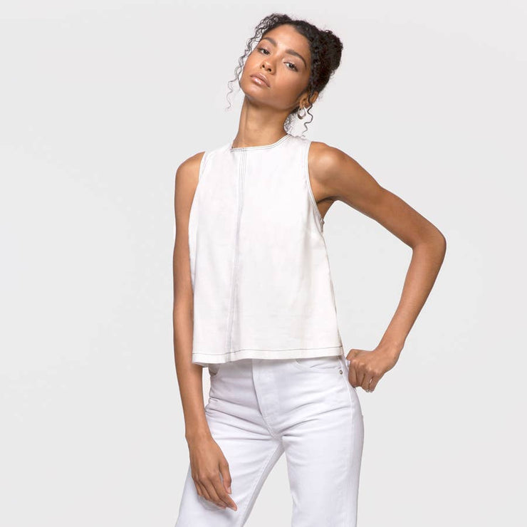 Greylin - Marlee Contrast Thread Shell Top: White