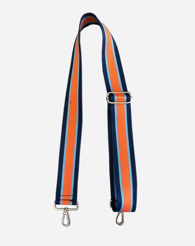 Ahdorned - Adjustable Bag Vertical Stripe Strap - Navy/Orange/Turq