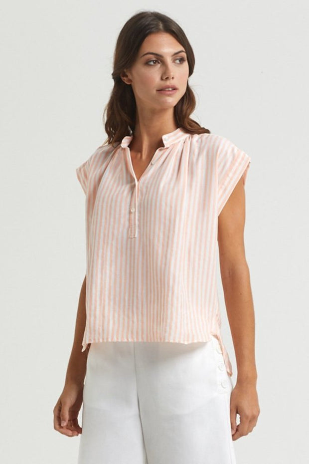Marie Oliver - Lachlan Stripe Cap Slv Top