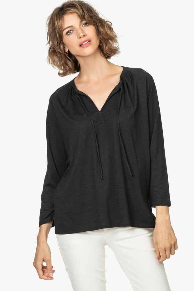Lilla P - 3/4 Sleeve Split Neck Flame/Modal Tee Black