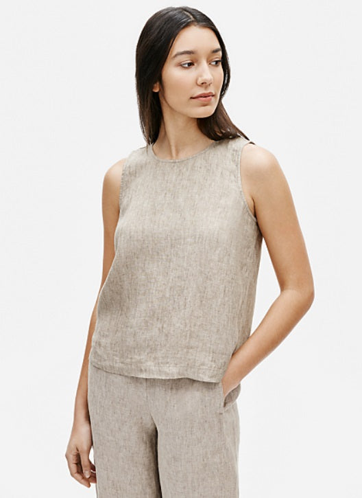 Eileen Fisher - Washed Linen Delave Shell Khaki