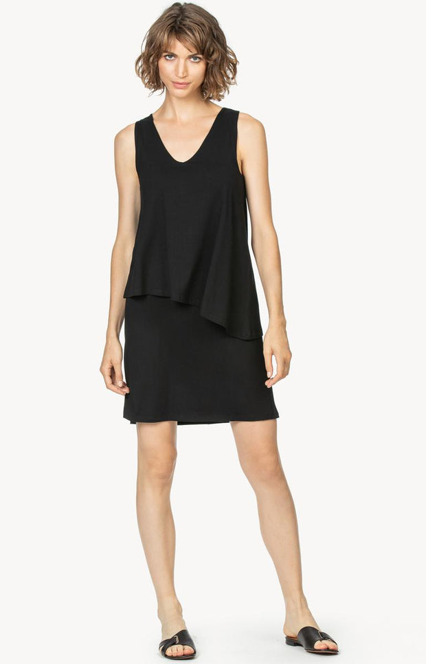 Lilla P - Double Layer V-Neck Dress : Black