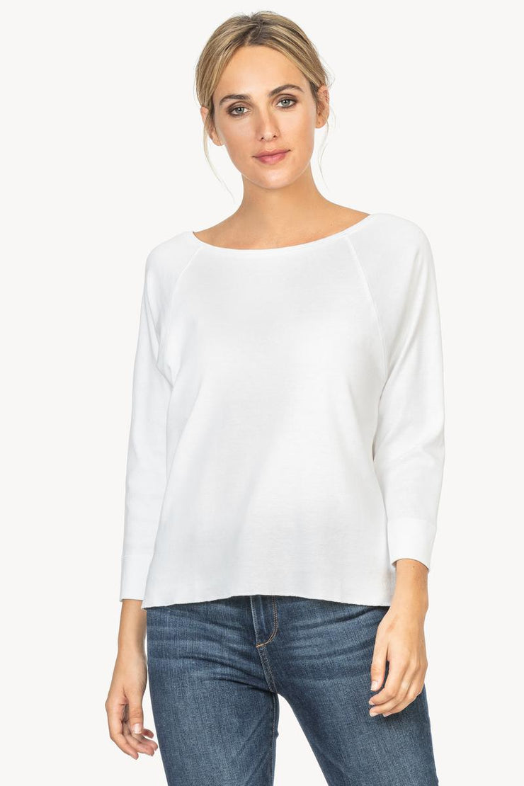 Lilla P - 3/4 Sleeve Cttn Boatneck Tee White