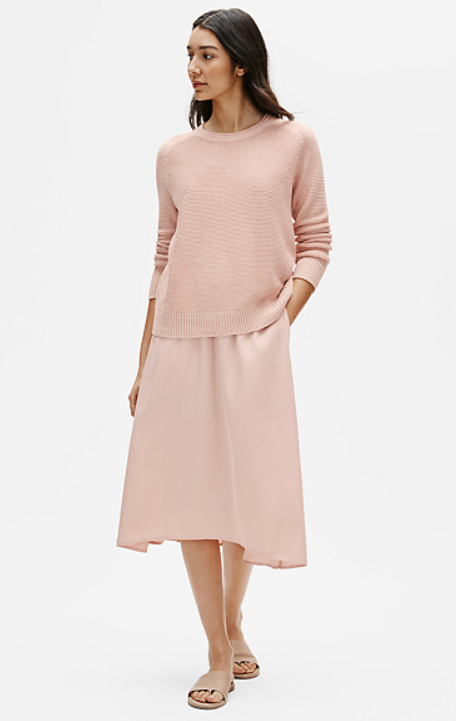 Eileen Fisher - Sandwashed Tencel C/L ALine Skirt Powder