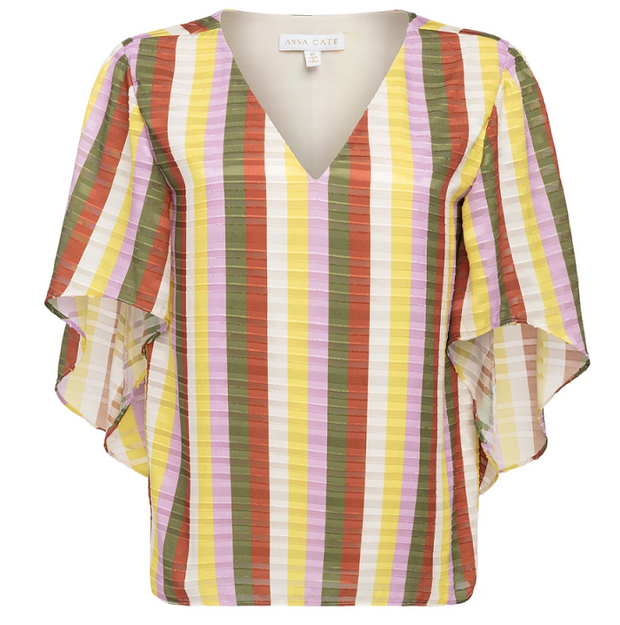 Anna Cate Nina S/S Top - Textured Striped