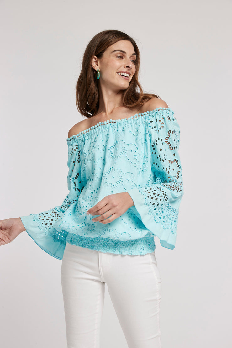 Tyler Boe - Claire 3/4 Slv Eyelet Top: Sea Turq